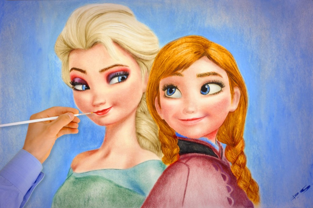 Elsa pintando a Anna