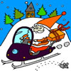 Santa Claus on Snowmobile Coloring