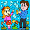 Kids with Bubble Kit Coloring