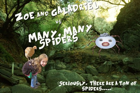 Zoe and Galadriel vs Many, Many Spiders